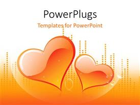 PowerPoint template displaying a pair of hearts with orange background and place for text