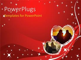 PowerPlugs: PowerPoint template with a pair of hearts with reddish background and place for text
