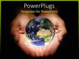 PowerPlugs: PowerPoint template with pair of human hands holding an earth globe with black background