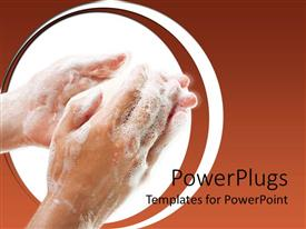 PowerPoint template displaying a pair of human hands washing with white soap