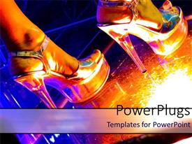 PowerPoint template displaying pair of legs wearing shinny silver shoes standing on disco lights