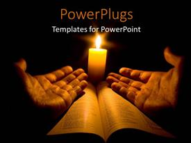 PowerPlugs: PowerPoint template with a pair of open hands on a bible with a bright candle