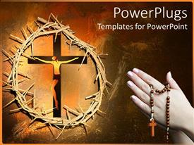 PowerPlugs: PowerPoint template with pair praying hands holding rosary next to Christ on cross framed by thorny crown