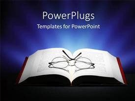 PowerPlugs: PowerPoint template with pair or reading eye glasses on open book with dark background