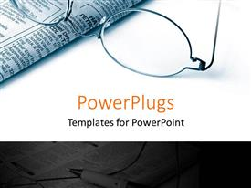 PowerPlugs: PowerPoint template with pair of reading glasses and a newspaper on a white background