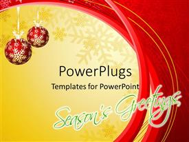 PowerPlugs: PowerPoint template with a pair of red balls with yellow and reddish background