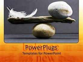 PowerPoint template displaying a pair of rocks with a feather