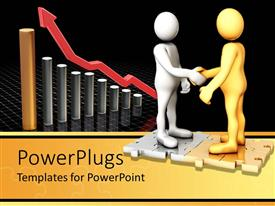 PowerPoint template displaying a pair shaking hands with puzzle pieces and growth graph in the background