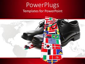 PowerPoint template displaying pair of shoes with a tie of different flags on it