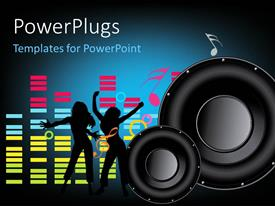 PowerPlugs: PowerPoint template with a pair of speakers with two women dancing and music signs in the background