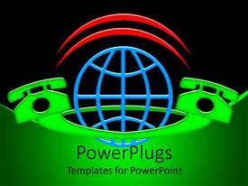 PowerPlugs: PowerPoint template with a pair of telephones connected together with the Earth in the middle