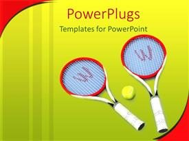 PowerPoint template displaying a pair of tennis rackets with a ball