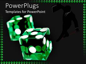 PowerPlugs: PowerPoint template with a pair of transparent green dies with white dots