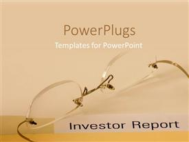 PowerPlugs: PowerPoint template with pair of transparent reading glasses on a peach colored background