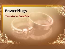 PowerPlugs: PowerPoint template with a pair of wedding rings together with golden background