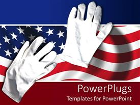 PowerPoint template displaying a pair of white gloves on an American flag