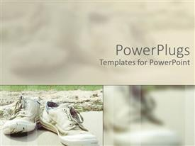 PowerPlugs: PowerPoint template with pair of white sneakers laying on sandy soil beside green vegetation