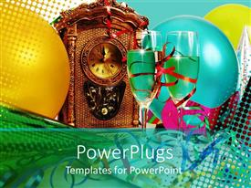 PowerPlugs: PowerPoint template with a pair of wine glasses with balloons in the background