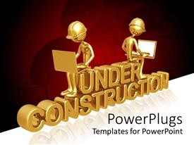 PowerPlugs: PowerPoint template with a pair working on laptops with reddish background