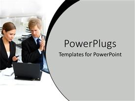 PowerPlugs: PowerPoint template with a pair working together with a laptop