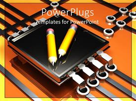 PowerPlugs: PowerPoint template with pair yellow pencils on top of microchip