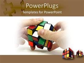 PowerPlugs: PowerPoint template with a pairof hands working on a rubix cube and two other cubes on the background