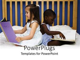 PowerPlugs: PowerPoint template with pale girl and dark skinned boy sitting back to back on bed reading books