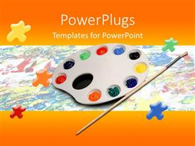 PowerPoint template displaying palette with rainbow paints and brush on painted background with paint splotches and orange border