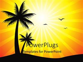 PowerPlugs: PowerPoint template with a palm tree with birds and sun in the background