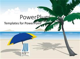 PowerPlugs: PowerPoint template with a palm tree and a chair on the beach