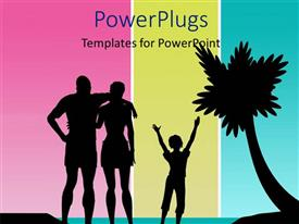 PowerPlugs: PowerPoint template with a palm tree with a family and a colorful background