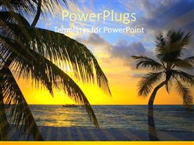 PowerPlugs: PowerPoint template with palm trees on the beach with beautiful ocean water and a cruise ship, sun rays and sky at sunset