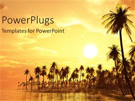PowerPlugs: PowerPoint template with palm trees on a beach with sunset in the background