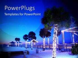 PowerPlugs: PowerPoint template with palm trees decorated with Christmas lights on beautiful beach