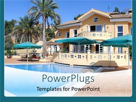 PowerPlugs: PowerPoint template with palm trees and swimming pool at luxury villa