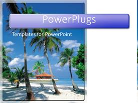 PowerPlugs: PowerPoint template with palm trees on tropical beach, travel, island