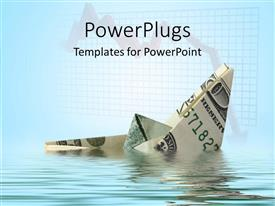 PowerPlugs: PowerPoint template with a paper boat made with the help of dollar note