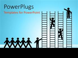 PowerPlugs: PowerPoint template with paper chain figures business man climbing ladder of success and getting job promotion