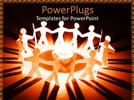 PowerPlugs: PowerPoint template with paper cut human images standing round a bright light