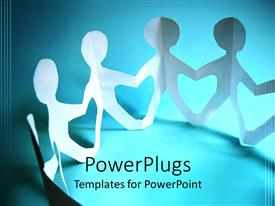 PowerPoint template displaying paper figures holding hands in a circular shape representing unity, community and teamwork