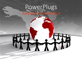 PowerPlugs: PowerPoint template with paper made people standing around 3D globe with global map