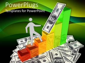PowerPlugs: PowerPoint template with paper man climbing colorful bars of bar chart on dollar bills