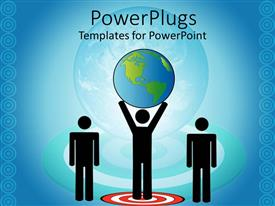 PowerPlugs: PowerPoint template with paper man standing on red target holds up earth globe over blue background