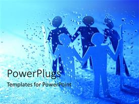 PowerPlugs: PowerPoint template with paper men hold hands in circle with rain drops falling