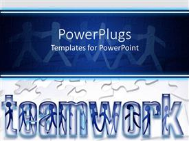 PowerPlugs: PowerPoint template with paper men holding hands in background with puzzle pieces