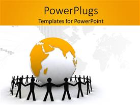 PowerPlugs: PowerPoint template with paper people in black standing around 3D globe with world map