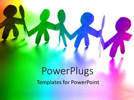 PowerPlugs: PowerPoint template with paper people hold hands on colorful background depicting unity
