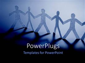 PowerPoint template displaying paper people holding hands with light glow on blue background