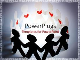 PowerPlugs: PowerPoint template with paper people with red heart symbol hold hands round light glow