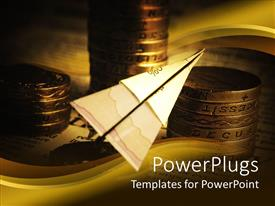 PowerPlugs: PowerPoint template with paper plane made of financial related paper with stacks of golden coins